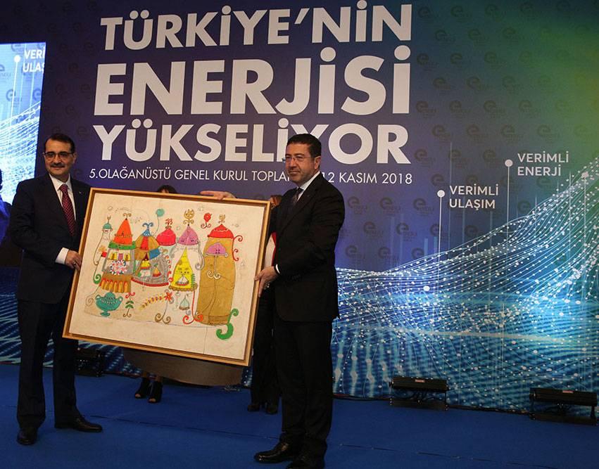 Murat Kalsın, Bakan Fatih Dönmez'e tablo hediye etti